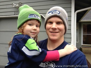 Seahawks beanie father and daughter