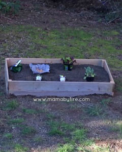 Easy garden markers finished raised garden bed